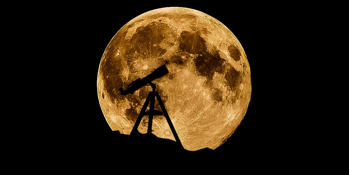 Moon viewing through a telescope
